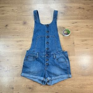 Free People Button Up Short Denim Jean Overalls